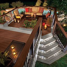 Ideas for our new sweet deck. So unique Trex Transcend railing and Trex Deck Lighting. Outside Living, Outdoor Living, Deck Lighting, Lighting Ideas, Lighting Concepts, Decks And Porches, Interior Exterior, Patio Design, Backyard Patio