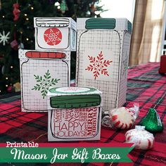 Printable Mason Jar Gift Boxes -- print and fold these FREE gift boxes to give all of your holiday gifts in style!