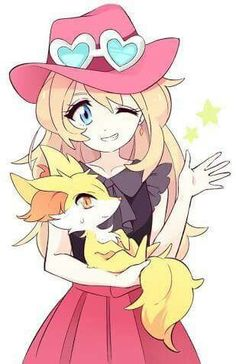 Serena and her Fennekin ♡ I give good credit to whoever made this