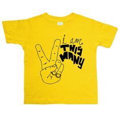 I'm This Many - Two Fingers - Two Year Shirt - Kids Unique TShirt - Boys Birthday - Girls Birthday - Baby and Toddler - Hipster Kids Shirt on Etsy, $16.00