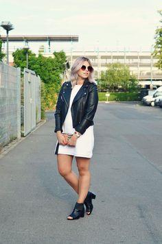Modeblog Berlin  Wearing Forever21 Dress, Mango Leather Jacket & Asos Peeptoe Boots