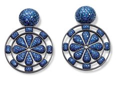 Hemmerle earrings in white gold and silver with sapphires