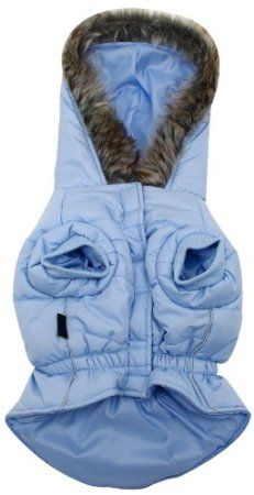 Amazon.com: Dogit Dog Coat with Faux Fur Trimmed Hoodie, X-Large, Frosted Blue: Pet Supplies