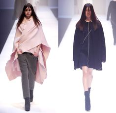 QIUHAO 2014-2015 Fall Autumn Winter Womens Runway Looks - Shanghai Fashion Week China - Wool Knitwear Knit Tie Up Drapery Wrap Triangle Triangular Angular Cone Cape Minimalist Outerwear Coat Topcoat Overcoat Asymmetrical Uneven Skirt Frock Dress Shawl Robe Funnelneck Half Sleeve One Off Shoulder Oversized Half and Half One Side Fabric Roll Button Lines White Dress White Ensemble