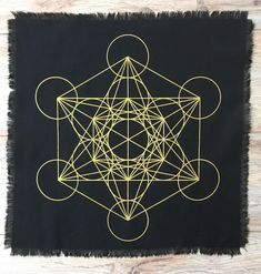 Black linen Metatron Sacred Geometry crystal grid altar cloth - Healing Crystal Reiki metaphysical by The7Directions on Etsy