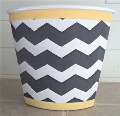 Wastebasket in Gray Chevron and Mellow Yellow...Child Baby Bedroom Bathroom Nursery Storage Grey. $24.99, via Etsy.