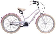 """Dámské kolo Cossack Miami 17""""/3r, bílé Stylové dámské kolo Cossack Miami vyvedené v retro stylu s 3 rychlostním řazením. Pohodlný cruiser určený do města, na cesty nebo jenom tak na vyjížďky pro parádu. Design připomínající motocykl je v tomto případě zcela účelový. Rám kola je vyroben z hliníku a je tak mnohem lehčí, nežli kola vyrobená z oceli. Pohodlné sedlo je samozřejmostí. Za nepříznivého počasí Vás ochrání zadní a přední blatník a účinný kryt na řetěz. Kolo je vhodné pro výšku postavy… Miami, Bicycle, Vehicles, Design, Bike, Bicycle Kick, Bicycles, Car"""