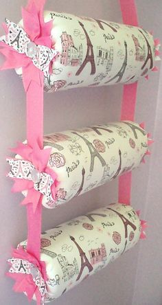 Items similar to Headband Organizer, Headband Holder, Girl Room Decor, Hanging Triple Bolster Paris Print Fabric on Etsy Diy Home Crafts, Diy Craft Projects, Sewing Projects, Headband Storage, Diy Baby Headbands, Organize Headbands, Bow Hanger, Diy For Kids, Handmade