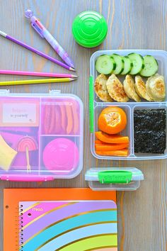 BACK-TO-SCHOOL WITH FLYING COLORS /// We absolutely love the fun, colorful bentos from @sistemanorthamerica, and as a #SistemaAmbassador we will continue show you creative lunch ideas for your kiddos (and yourself!) throughout the year. (LEFT): PB&J, veggies and yogurt dressing, and a cutesy banana for Babycakes. (RIGHT): Plant-based Thai dumplings, veggies, seaweed, and a mandarin for me. :) #backtoschool #bento #kidslunch #momlunch #lunch #lunchtime #schoollunch Healthy Lunches For Kids, Kids Meals, Thai Dumplings, Food Categories, Lunch Time, School Lunch, Bento, Yogurt, Plant Based