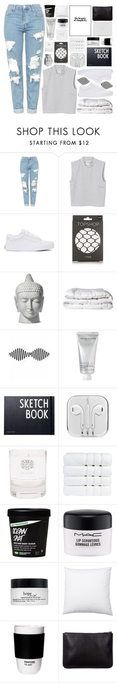 """""""simplicity ♡"""" by xo-nichole ❤ liked on Polyvore featuring Topshop, Monki, Vans, Brinkhaus, African Botanics, Design Letters, Law of Sleep, Christy, MAC Cosmetics and philosophy"""