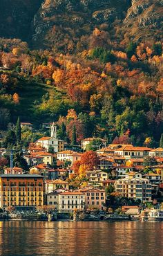Small town on the shore of Lake Como in autumn, Italy