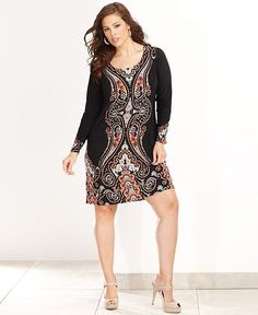 INC International Concepts Plus Size Dress, Long-Sleeve Exotic-Print Jersey Shift - Plus Size Dresses - Plus Sizes - Macy's