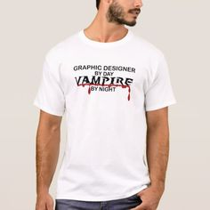 Graphic Designer Vampire by Night T-Shirt