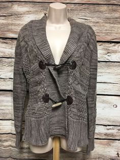 John Paul Richard Size XL Black Crochet Knit Cardigan Circle ...