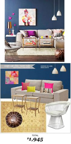 Navy and Gold Living Room #Copycatchicroomredo by #LindseyBoyer  for only $1945