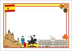 Spain-themed A4 page borders (SB9740) - SparkleBox