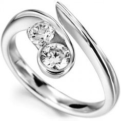 Unusual 2 stone flowing diamond engagement ring, with unique curling design holding either of two carat weight combinations of round brilliant cut diamond. Naturally flowing from shoulder to diamonds, the style of flow is both original and captivating. A matched pair of round brilliant cut diamonds. Select either 0.26 carats (3.5mm / 3mm diamonds) 0.60 carats (4.5mm / 4.0mm diamonds) for this unusual and modern engagement ring design.