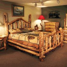 """Our """"Wild Grizzly"""" Aspen Log Bed.  Visit us at www.LogCabinRustics.com to buy this bed and other premium American-made log furniture."""