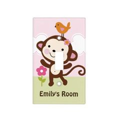 Personalized Jungle Girl Monkey Switch Plate Light Switch Covers