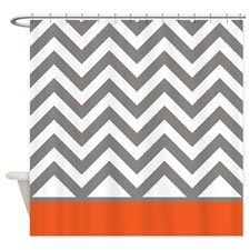Gray Chevrons and orange stripe Shower Curtain for