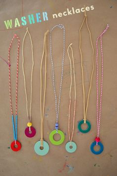 Make Washer Necklaces with your daughter! All you need is string, nail polish and a washer.