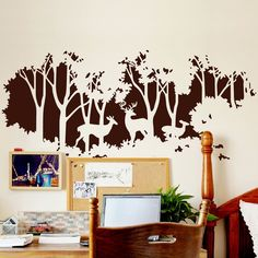 The forest silhouette wall decal is at largest 232cm x 100cm. It will definitely change the look of your room and look gorgeous in all room decors. It comes with reusable transfer paper. Suitable for living room, bedroom, nursery, etc.