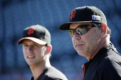 San Francisco Giants Manager Bruce Bochy wearing @Kaenon Hard Kore Sunglasses in Graphite/Orange frame.  The Giants take on the Kansas City Royals in the World Series-beginning today.