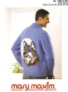 Knit a wolf jacket using bulky weight yarn.