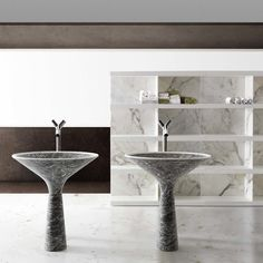 """""""Dry"""" marble sink and """"Shiro"""" marble and wood shelf by Kreoo"""