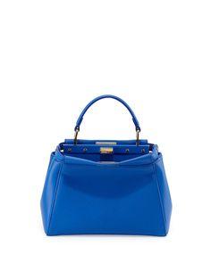 Peekaboo Mini Leather Satchel Bag, Blue