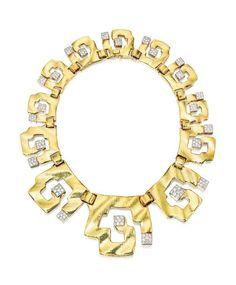 18 Karat Gold, Platinum and Diamond Necklace, David Webb