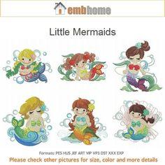 Little Mermaids Cute Girl Baby Cartoon Machine Embroidery Designs Pack Instant Download 4x4 hoop 10 designs APE1749 on Etsy, $15.00