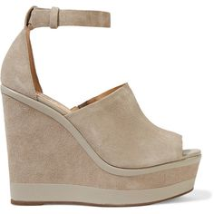Schutz - Morlen Leather-trimmed Suede Wedge Sandals (405 ILS) ❤ liked on Polyvore featuring shoes, sandals, light gray, strap sandals, flat shoes, strappy wedge sandals, strappy flats and wedge heel sandals