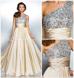 Sheath/Column One Shoulder Floor-length Satin Chiffon Evening Dress - USD $ 117.98