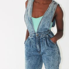vintage 80s high waisted acid wash SUSPENDER jeans