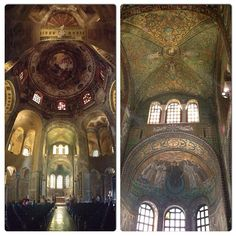 A vertical panorama in the left and a detail at the right side to show the amazing mosaics at Basilica di San Vitale in Ravenna - Instagram by @Aprendiz de Viajante