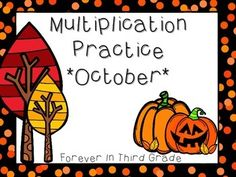 Multiplication Fact Practice for October. This multiplication fact set has the…