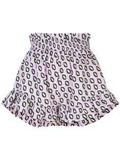 Purple cotton Birdie smocked flutter shorts from Cynthia Rowley featuring a high waist, a ruffle trimming, a smocked waist and a short length. Cynthia Rowley, Shorts, Short Outfits, World Of Fashion, Size Clothing, Smocking, Women Wear, Clothes For Women, Purple
