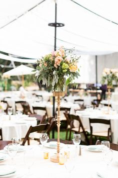 Reception Dinner Table Decor Tall Centerpiece Gold Holder Peach and Pink Flowers | White-Ranch-Wedding-Photographer-Chico-California-TréCreative