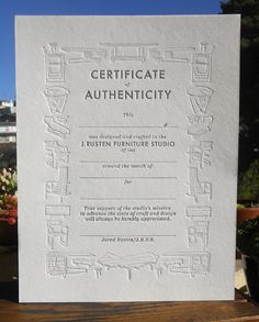Letterpress certificate of authenticity