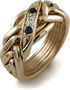 LADIES 6 band GOLD Puzzle Ring LG-6WB2S1D 2 Sapphires 1 Diamond