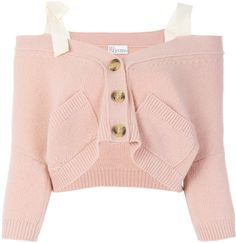 Red Valentino off the shoulder button cardigan - Nude & Neutrals Light Pink Crop Top, Light Pink Cardigan, Crop Top Outfits, Pink Outfits, Cute Outfits, Off Shoulder Shirt, Off Shoulder Tops, Foto Casual, Tumblr Outfits