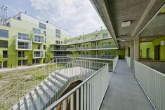 Image 4 of 13 from gallery of Herzberg Public Housing / AllesWirdGut Architektur + Photograph by Hertha Hurnaus Co Housing, Social Housing, Gio Ponti, Colour Architecture, Contemporary Architecture, Wood Tile Kitchen, Green Facade, Pergola, Villa