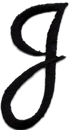 "Amazon.com: [Single Count] Custom and Unique (1 3/4"" to 2"" Inches) American Alphabet Cursive Script Thin Letter J Iron On Embroidered Applique Patch {Black Color}: Arts, Crafts & Sewing"