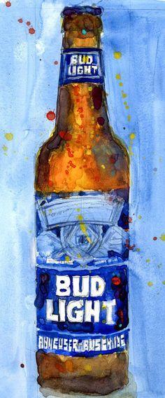 Bud Light BLUE 2017  Budwiser American Beer Art by dfrdesign