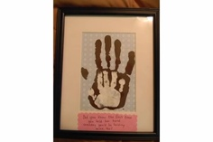 "Our father's day gift from my little girl with both our handprints. ""Did you know the first time you held her hand someday you'd be holding mine, too?"""