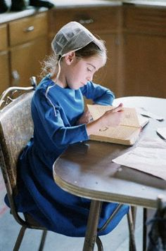 "Amish child perhaps reading her ""Best Friends"" Mailbox Club Bible lesson!"