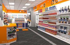 Mini Mart Retail Interior Design, Retail Store Design, Mini Store, Supermarket Design, Retail Architecture, Shop Facade, Retail Shelving, Store Layout, Store Interiors
