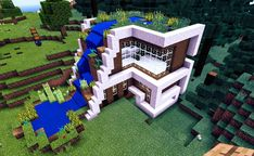 I really like the idea here but I think I'd do it a little differently - Minecraft World Minecraft Mods, Casa Medieval Minecraft, Minecraft World, Minecraft Building Guide, Modern Minecraft Houses, Minecraft Structures, Minecraft Plans, Minecraft Funny, Amazing Minecraft