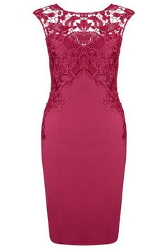 This sexy bodycon dress featuring round neck, sleeveless styling, lace detail, v shape backline, back zipper closure. Pair this dress with your favorite nude single soles and gold accessories for an elegant look.
